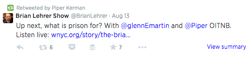 The author of 'Orange is the New Black' retweeted this link shared by The Brian Lehrer Show to her over 80,000 followers.