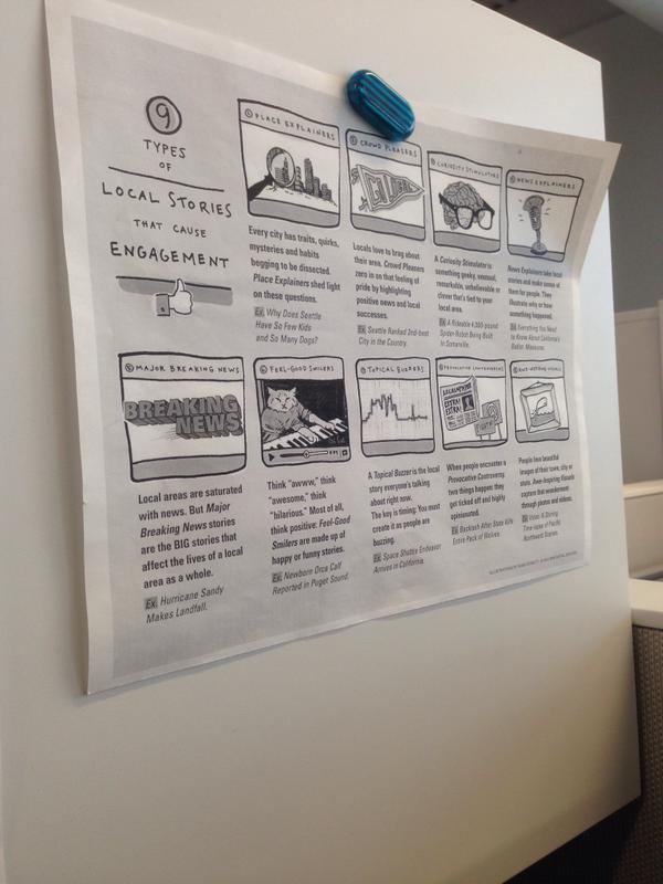 The 9 Types handout on a cubicle wall at St. Louis Public Radio.