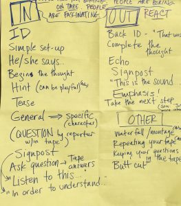 We made this list of techniques for writing in and out of sound at a training session at NPR West.
