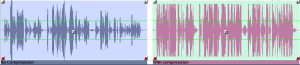 "Left: speech recorded naturally with no compression. Right: that same speech overly-compressed. Note the ""chopped off"" waveform and lack of dynamics compared to the example on the left. Image by Rob Byers/NPR"