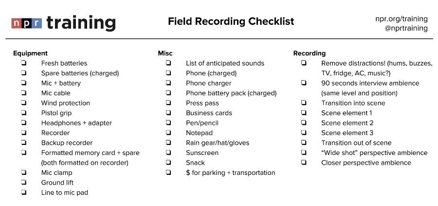 checklist for an interview