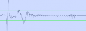 A plosive on the front of a word as seen in an audio editor.