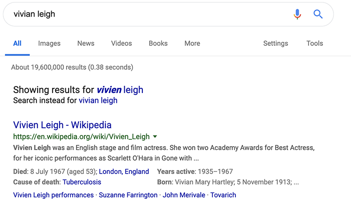 Google shows a name spelling incorrectly.