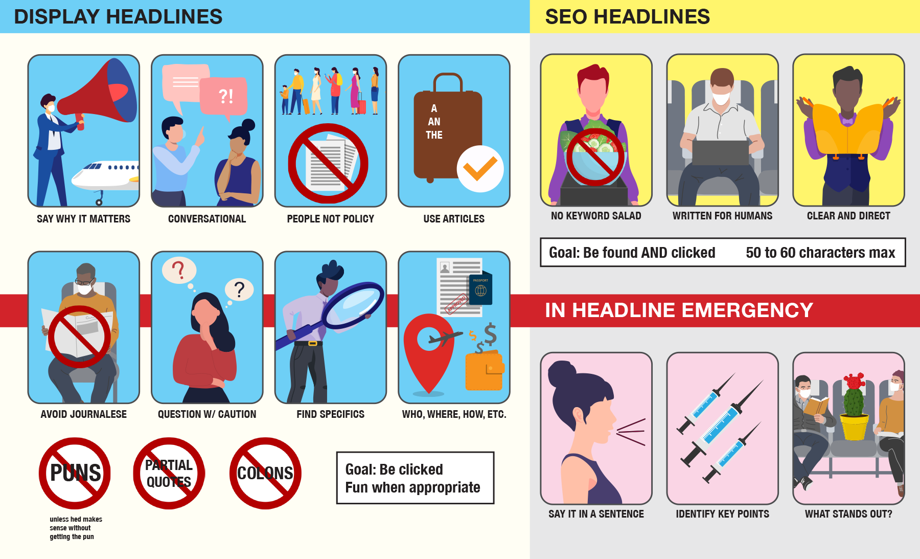 A handout made to look like an airplane safety card, with images that correspond to the advice in the story