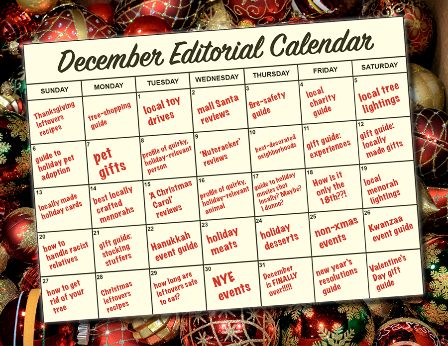 despairing editorial calendar on top of a box of tree ornaments